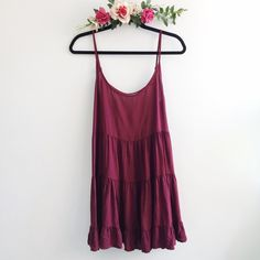 [115] Brandy Melville Maroon Jada Dress ! ➖Sorry, no trades➖No holds➖Will not model➖Firm on price, UNLESS bundled/ offer sent via feature! Brandy Melville Dresses