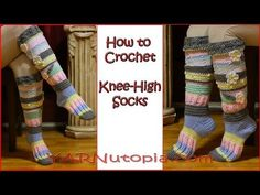Crochet Tutorial: Knee-High Socks - YARNutopia by Nadia Fuad Crochet Socks Tutorial, Crochet Socks Pattern, Crochet Gloves, Crochet Slippers, Crochet Stitches, Knitting Patterns, Chunky Crochet, Diy Crochet, Crochet Stocking