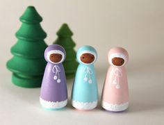 Items similar to Waldorf Wooden Peg People - 3 Winter Snow Sprites on Etsy