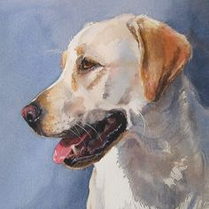 Yellow Labrador Retriever Print of Watercolor Dog Painting by EdieFaganArt on Etsy.  Reggie loved sitting for her pet portrait - the perfect yellow lab!