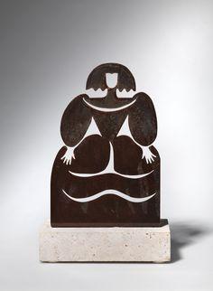 "HELENA AGUSTÍ MARAGALL "" Menina"" Plancha de hierro con baño de bronces lacado. Peana de mármol travertino natural 28x18x10cm VENDIDO"