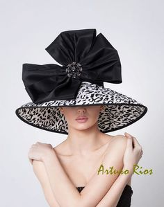 Black and White Derby Hat Couture Hat with bow by ArturoRios, #millinery #judithm #hats