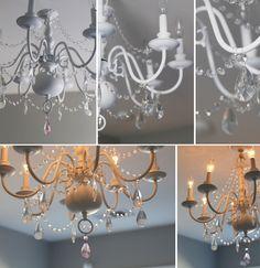 Little girl's room girls chandelier, painted chandelier, chandelier be Girls Chandelier, Chandelier Bedroom, Diy Chandelier, Painted Chandelier, Chandelier Makeover, Leelah, Diy Home Decor, Room Decor, Princess Room