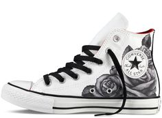 White And Black Rose Converse