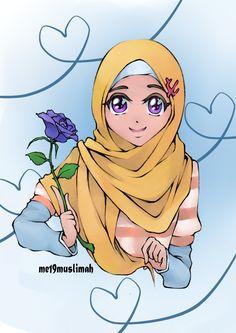 Purple.. by PiNkDuRoQa.deviantart.com on @deviantART Girl Cartoon, Cartoon Art, Crown Illustration, Hijab Drawing, Islamic Cartoon, Anime Muslim, Hijab Cartoon, Islamic Girl, Disney Tangled