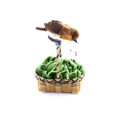 Cabbage pin cushion basket with English Robin sitting on handle....Made by Janie Comito