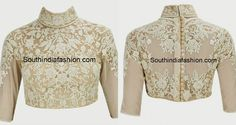 Classy High Neck Blouse Designs: 10 Trendy Patterns – South India Fashion high_neck_blouse_with_show_buttons<br> top 10 high neck blouse designs, latest high neck blouse styles, trendy high neck blouse patterns, high neck party wear blouse designs Blouse Designs High Neck, Sari Blouse Designs, High Neck Blouse, Fancy Blouse Designs, Blouse Patterns, Blouse Styles, Fancy Dress Design, Stylish Blouse Design, Crop Top Design