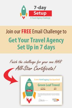 This is a MUST for anyone thinking of starting a travel agency!  We've compiled all the steps you need to get your #travelagency set up in 7 days.  Receive a daily email with tasks, additional resources and bonus materials only available to 7-day Setup participants!  At the end of the Challenge, you'll get a personalized HAR All-Star Certificate to show you're serious about launching a successful agency!  #travel #entrepreneur #smallbiz #travelagent #7daysetup