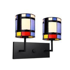 Mondrian Inspired 2 Light Wall Lamp Tiffany Glass Shade For Bedroom Foyer Living Room Living Room Dining Room Balcony Hallway