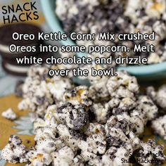 You can make puppy chow the same way but sub Chex with popcorn hack