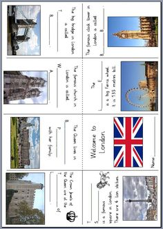 A pocket book or mini book for English lessons in elementary school with London's most famous sights: Here English Primary School, English Classroom, Teaching English, English Projects, English Lessons, English Activities, Vocabulary Activities, English Time, Learn English