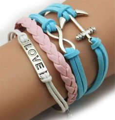 Fashion Lady Retro Anchor, Love & Infinity Bracelet in Silver Color - Pink Blue and White Wax Cords and Leather Braid Strands Bracelet Suede Rope Bracelet Gift Whatland,http://www.amazon.com/dp/B00J21YQ7G/ref=cm_sw_r_pi_dp_SqcEtb0NWJVE56SH
