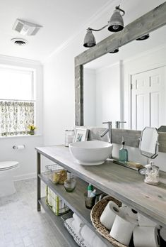gray stained wood bathroom countertop
