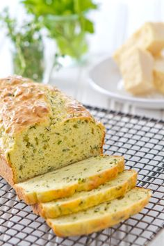 This Cheese and Herb Quick Bread is full of cheese and fresh herbs. An easy vegetarian appetizer - no mixer and no yeast and ready in under an hour!