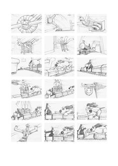 """Storyboard art for one of my favorite things in the world, """"Wallace and Gromit"""" <3 This board is from the episode """"The wrong trousers"""""""