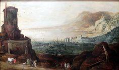 Jan Brueghel (I)  1568-1625 and Joos de Momper (II) 1564-1635 : View of a port. Fortified tower (Lower Saxony State Museum) 1568-1625 ヤン・ブリューゲル (父)とヨース・デ・モンペル2世 合作