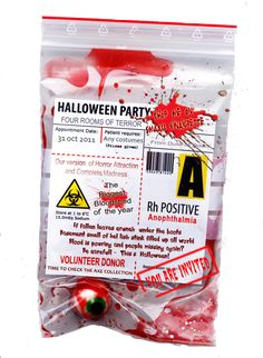 Put fake body part in real plastic bag and attach bio sticker with invite info