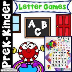 Fun Alphabet Games Pack for Preschool or Kindergarten. Bingo, Battleship, Yatzee and Tic Tac Toe. Alphabet Games For Kindergarten, Preschool Board Games, Toddler Learning Activities, Alphabet Activities, Learning Games, Learning Skills, Preschool Worksheets, Fun Activities, Toddler Board Games