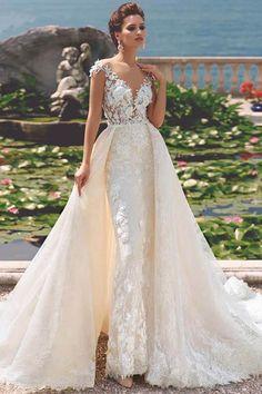 Mermaid wedding dress with detachable train. How To Dress For A Wedding, Cheap Wedding Dress, Dream Wedding Dresses, Bridal Dresses, Wedding Gowns, Lace Mermaid Wedding Dress, Mermaid Dresses, Detachable Wedding Dress, Bridal Jumpsuit