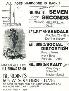 7 Seconds @ Bundini's, Tempe May 1984 w/ Hellfire and O. (more Bundini's dates on poster) Sun City Girls, Punk Poster, 7 Seconds, Mandalay, Flyers, Dates, Sheet Music, Spanish