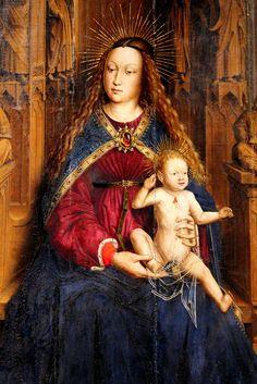 Lluis Dalmau. Madonna dei Consiglieri (1443-45) . Dettaglio -- Anche nella Catalogna  del sec. XV era uso porre al collo dei bambini i coralli per proteggerli dal male e infondere loro energia.