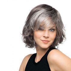 Image result for chic grey streak hair