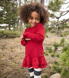 Kids Organic Cotton Thermal Skater Dress and Striped Legging Set - Burts Bees Baby