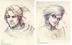 Quick pencil sketches of Bayonetta and Luka~