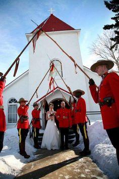Winter wedding Honour Guard.