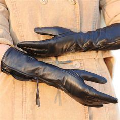 Warmen lujo mujeres de Nappa Soft felpa forrado largo de codo guantes de cuero