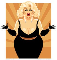 Darienne Lake from RuPaul's Drag Race by Chad Sell Best Drag Queens, Drag Race Season 6, Trans Art, Drag King, Queen Art, The Vivienne, Peacock Design, Amazing Drawings, Save The Queen