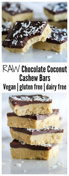 Chocolate Coconut Cashew Bars Chocolate coconut cashew bars made with simple, clean ingredients. Vegan, gluten free and dairy free Chocolate coconut cashew bars made with simple, clean ingredients. Vegan, gluten free and dairy free Healthy Vegan Dessert, Raw Vegan Desserts, Raw Vegan Recipes, Vegan Treats, Dairy Free Recipes, Healthy Desserts, Dessert Recipes, Keto Recipes, Vegan Raw