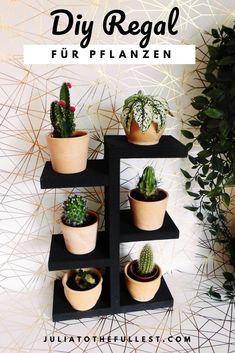 So einfach kannst du das DIY Pflanzenregal nachbauen. Das Regal ist praktisch, sieht gut aus, und kostet dabei nicht einmal 5 €. Darauf sehen die Minikakteen besonders gut aus :) Möbel bauen ganz einfach! #juliatothefullest #diy #diypflanzen #pflanzenregal #interior #diyinterior