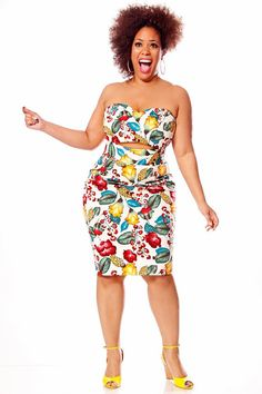 Oh, spring. Soon we'll be together again. JIBRI Plus Size High Waist Pencil Skirt (Tropicana)