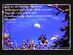 MARCH 13, 2013 - Sound . . . The sound of night (Nocturne). #Quote #Inspirational #Motivational #Life #Happiness #Love #Patience #Strength #Courage #Peace #Nocturne #SecretGarden