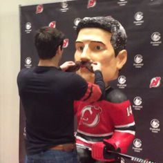 hooks his life-size bobblehead up with a matching mustache! Movember Mustache, New Jersey Devils, Bobble Head, Hockey, Instagram Posts, Life, Field Hockey, Ice Hockey