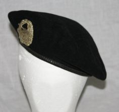 Vintage German Military Black Beret with by ilovevintagestuff