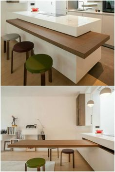 The dining table is cleverly hidden in the countertop of this chic kitchen - Table Design Kitchen Room Design, Modern Kitchen Design, Home Decor Kitchen, Interior Design Kitchen, Kitchen Furniture, Home Kitchens, Furniture Layout, Furniture Stores, Furniture Nyc