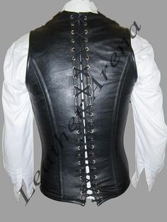 Men's Genuine Black Leather Gothic Vest Corset Back Lacing All Size Available | eBay