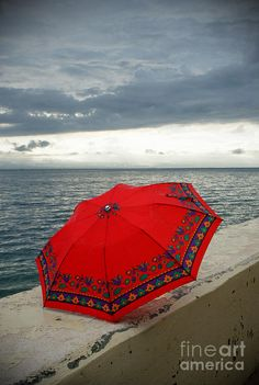 Red Umbrella By The Aegean Sea Photograph -Fine Art Print