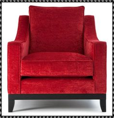 Beautiful red velvet armchair Available from Hullabaloo