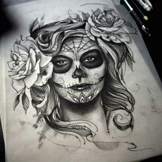 Best skull art tattoo sketches day of the dead ideas Tattoo Girls, Skull Girl Tattoo, Sugar Skull Tattoos, Girl Tattoos, Tattoos For Women, Sugar Skulls, Chicano Tattoos, Tatuajes Tattoos, Body Art Tattoos