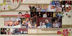 using lots of photos on 2 page spread  Christmas photos from friends and family
