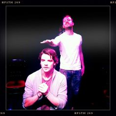 """Behind the scenes of Andrew Lee Potts as Jonathan Harker in a stage production of """"Dracula"""" - hottsyforpottsy/tumblr"""