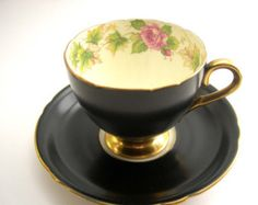 "Antique SHELLEY Matte Black ""ROYALTY"" Tea Cup And Saucer, English fine bone china, Black and yellow tea cup ."