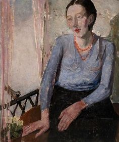 Self-Portrait at Window (1930) by Nella Marchesini (1901-1953), Italian - studied under Casorati. Her work after the Second World War is characterised by a more expressive handling of paint and heightened dramatic tension in her figure scenes, and again she returned to the theme of family (artinconnu) -( bjws)