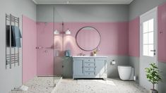 Goodbye to stark white bathrooms and hello to pale pinks and soft grays. Scared of adding colour to your bathroom? Create a statement wall with one of these two trendy hues…