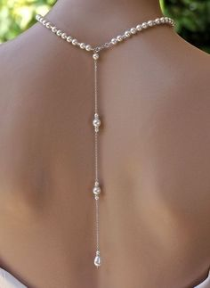 Pearl Back Drop Necklace Bridal Backdrop SILVER Gold Rose