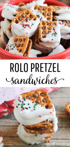 Rolo Pretzel ingredients to make and the perfect blend of salty and sweet, crunchy and chewy, and all around delicious! food EASY Rolo Pretzel Sandwiches (only 3 ingredients!) - I Heart Naptime Christmas Pretzels, Christmas Snacks, Christmas Cooking, Holiday Treats, Holiday Recipes, Christmas Parties, Dinner Recipes, Christmas Candy, Christmas Dessert Recipes