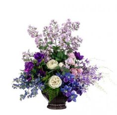 Lavender and Purple Silk flower Arrangement with Roses and Anemone - ARWF1275